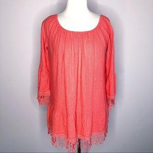 Krazy Kat Boho Linen Blend Tunic Size Medium
